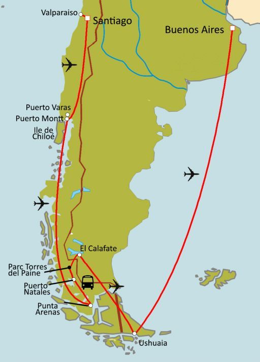 Patagonie  : Chili - Argentine