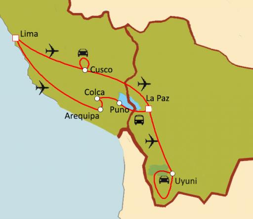 Carte du circuit Couleurs andines : Pérou - Bolivie