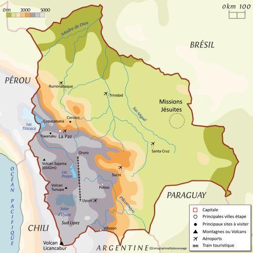 Carte touristique Bolivie