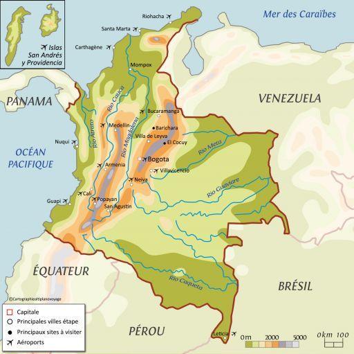 Carte touristique Colombie