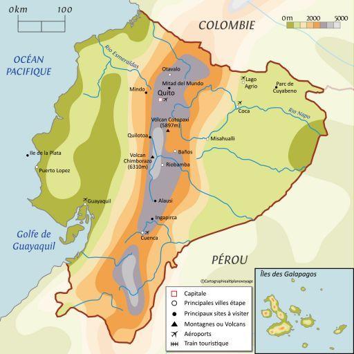 Carte touristique Equateur