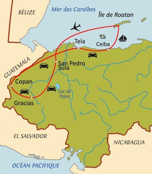 Carte du circuit Trésors du Honduras avec chauffeur