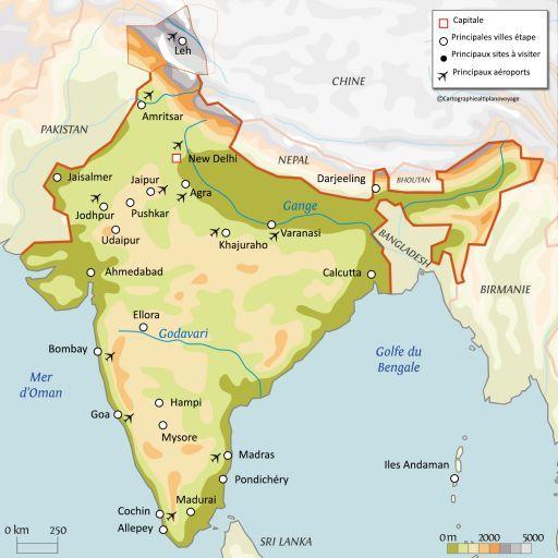 Carte touristique Inde