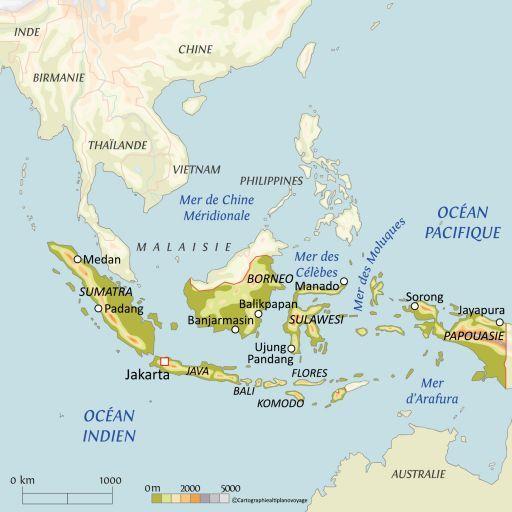 Carte touristique Indonésie