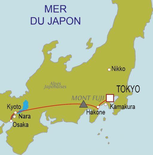 Carte du circuit Trésors du Japon