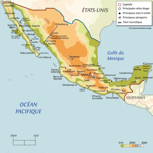 Carte touristique Mexique