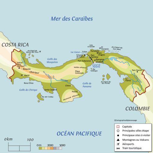 Carte touristique Panama